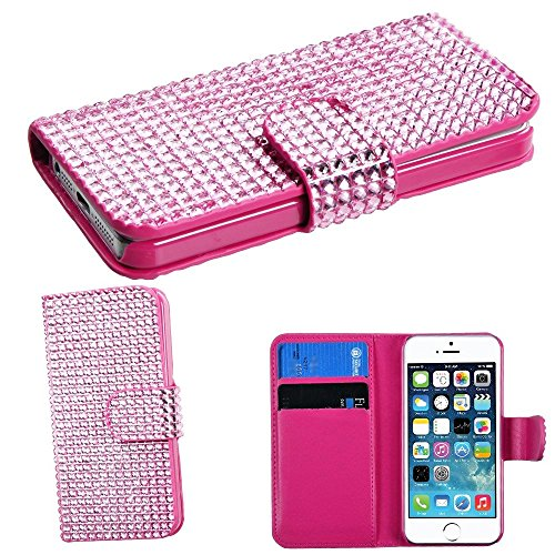 Mylife (Tm) Shimmering Carnation Pink - Rhinestone Design - Textured Koskin Faux Leather (Card And Id Holder + Magnetic Detachable Closing) Slim Wallet For Iphone 5/5S (5G) 5Th Generation Itouch Smartphone By Apple (External Rugged Synthetic Leather With