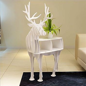 WSZYD estante estantería de madera alces creativo decorativo Art Hotel de planta adornos animales 115 * 57 * el 145CM ( Color : Blanco )