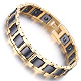 Men's Gold Tungsten Black Ceramic Magnetic Therapy Germanium Health Link Bracelet Improve Insomnia