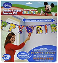 Amscan DisneyMickey Mouse Birthday Party Add-An-Age Customizable Jumbo Letter Banner Decoration, 10 1/2' X 10