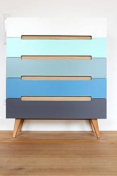 Schubladenkommode Linsell Sideboard Highboard bunt modern Design Eiche MDF