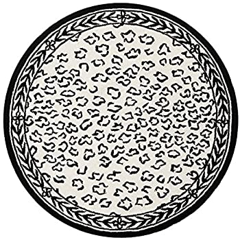 Safavieh Chelsea Collection HK15C Hand-Hooked White and Black Premium Wool Round Area Rug (3 Diameter)
