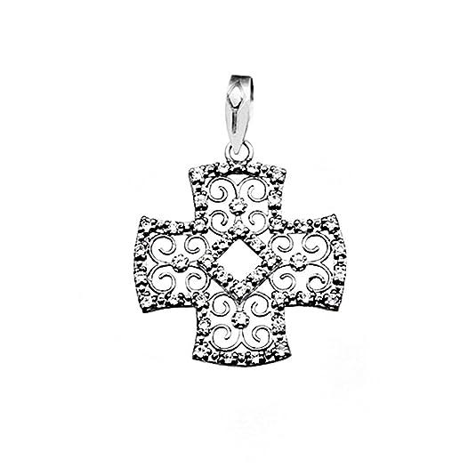 Cross 18k white gold filigree zircons [AA4923]
