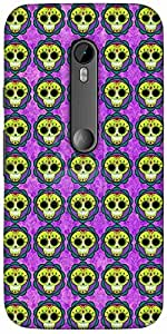 Snoogg Skull Purple Pattern Designer Protective Back Case Cover For Motorola ...