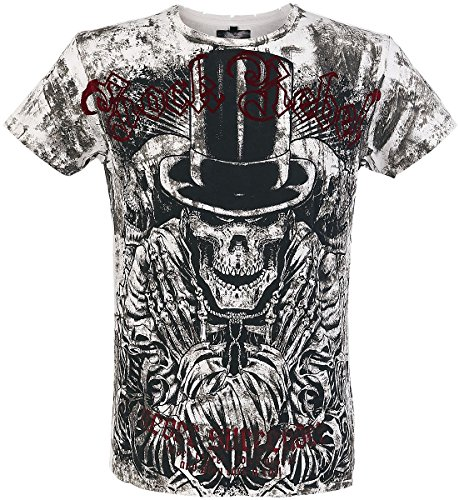 Rock Rebel by EMP Top-Hat Skull Vintage T-Shirt bianco/nero M
