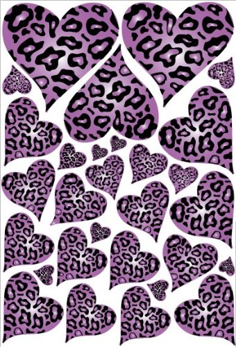 Purple Leopard Cheetah Print Hearts Wall Stickers Decals front-223085