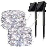 Solar String Lights, 2 Pack 100 LED Solar Fairy Lights 33 feet 8 Modes Copper Wire Lights Waterproof Outdoor String Lights for Garden Patio Gate Yard Party Wedding Indoor Bedroom Cool White - LiyanQ (Color: 2 pack solar lights cool white)