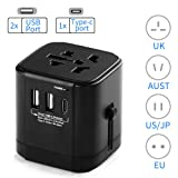 International Travel Adapter, Worldwide AC Socket with 2 USB A Ports and 1 Type C Total 4.5A, All in One Universal Power Adapter Plug Converter for EU/UK/US/AUS/Asia 150 Countries (Color: International Travel Adapter-Black)