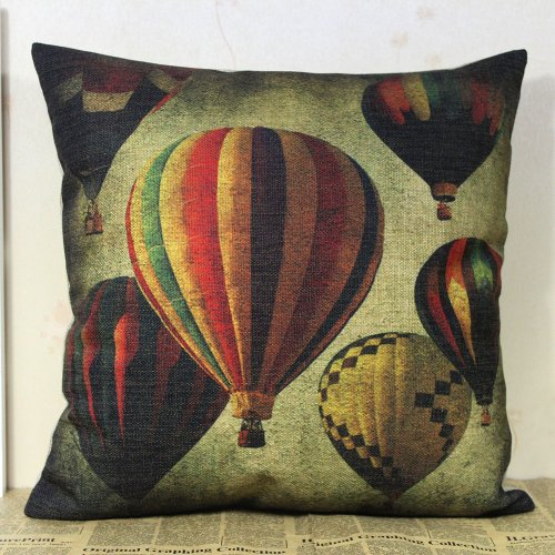 Decho 45Cmx45Cm Shabby Chic Old Look Colorful Hot Air Balloon Linen Pillow Case Cushion Covers With Placemat front-481095