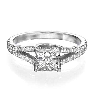0.90 CT White Gold Engagement Ring Princess Cut Natural Diamond with Sidestones H/SI1 (Clarity Enhanced) 14ct
