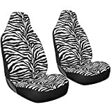 Oxgord 2pc Set Zebra Animal Print / White, Black Auto Seat Covers Set - Airbag Compatible - Integrated High Back Buckets - Universal Fit for Car, Truck, Suv, or Van