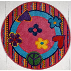 Fun Shape High Pile Peace Kids Rug Rug Size: Round 4'3""