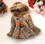 1P Classic Baby Toddler Faux Fur Leopard Coat Girls Winter Warm Jacket Snow