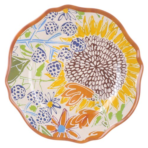 Grasslands Road 4-Pack Melamine Farm Fresh Floral Accent Plate, 9-Inch