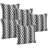 Idrape Polyester 5 Piece Cushion Cover Set- Black, 40 Cm X 40 Cm