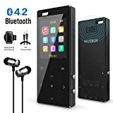 MP3 Player, MP3 Player with Bluetooth, Hi-Fi Lossless Sound Music Player with FM Radio, Voice Recorder, Pedometer, Expandable up to 128GB TF Card, with Armband and Earphone, Black (Color: 2 Bluetooth)