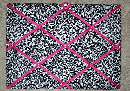 Damask Scroll with Shocking Pink Ribbon French/memo Board
