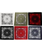 "6 Pack - Bandanas Trainmen Cotton Biker Headwraps 27"" x 27"""