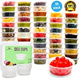 Plastic Food Storage Containers with Lids (Comparable to Tupperware ) - Restaurant Deli Cups / Foodsavers, Baby & Portion Control - Kids Lunch Boxes - Watertight / Leakproof Takeout Set (8.5oz, 50pcs)