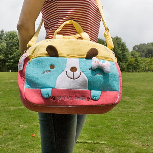 [Smile Dog] Embroidered Applique Fabric Art Duffle Bag / Shoulder Bag / Travel Bag (12.2*9.1*4)