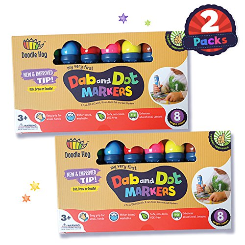 Dab and Dot Markers Set of 16 Dauber Washable Marker for Early Childhood, Preschool for Arts and Crafts Activities and even bingo sheets (2 PACK, 16 Markers) great bulk classpack