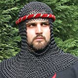 Blackened Chain Mail Armor Coif Medieval Armor