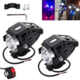 Anysell88 2pcs 125W U5 Motorcycle Motorbike Headlight LED Fog Spot Lights Bulb & Swit (Color: White)