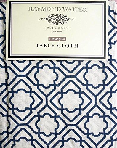 Raymond Waites Fabric Tablecloth Navy Blue Geometric Moroccan Lattice  Pattern On Cream    60 Inches X 120 Inches