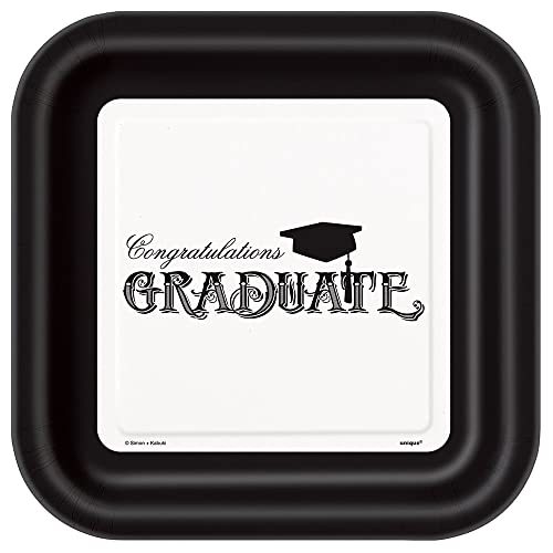Unique 8 Count Classic Grad Square Plates 9-Inch