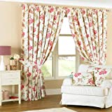 Paoletti Ascot Pencil Pleat Lined Curtains, Floral, 66 x 72 Inch