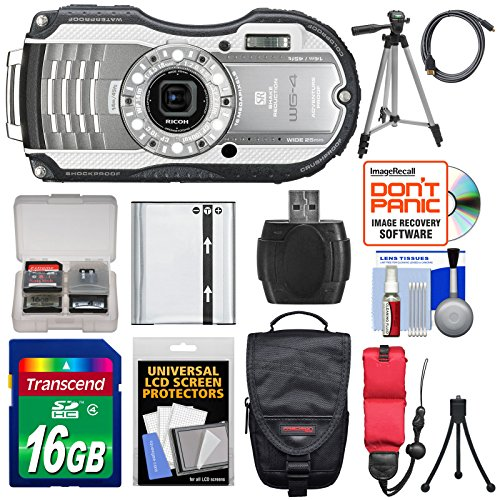 Ricoh Wg-4 Shock & Waterproof Digital Camera (Silver) With 16Gb Card + Battery + Case + Tripods + Accessory Kit