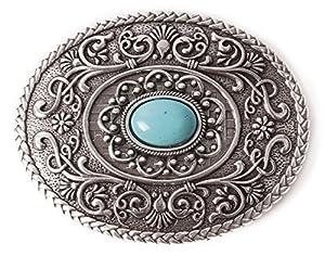 Versilberte Gürtelschnalle / Gürtelschliesse / Buckle / im Indianer-Look mit türkis farbigen Stein