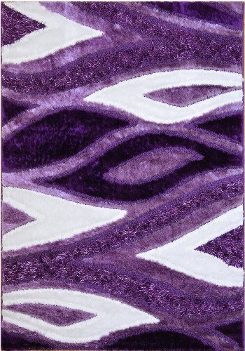 "Royal Collection Purple White Contemporary Design Shaggy Area Rug (6029) (5'1""X7'1"") front-970931"