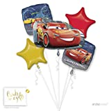 Andaz Press Balloon Bouquet Party Kit with Gold Cards & Gifts Sign, Disney Cars Birthday Foil Mylar Balloon Decorations, 1-Set (Color: Cars)