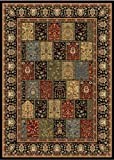"3'7"" x 5'2"" Rectangular Oscar Isberian Rugs Area Rug Black Color Machine Made Turkey ""Royalty Collection"""