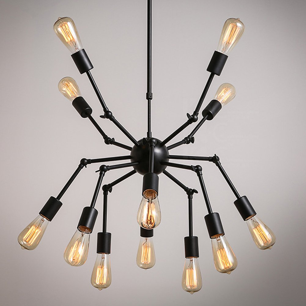 Aero Snail Creative Metal Pendant Light Vintage Black Barn Chandelier with 12 Lights Painted Finish 2