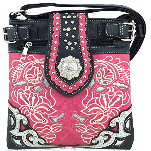 Texas West Premium Rhinestone Concho Embroidery Concealed Carry Messenger Bag and Mini Messenger Bag in 6 Colros. New with Fast Shipping. (Hot Pink)
