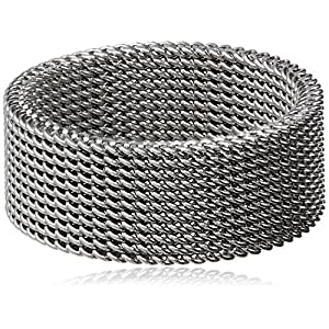 Women's Stainless Steel Mesh Band Ring, Size 6