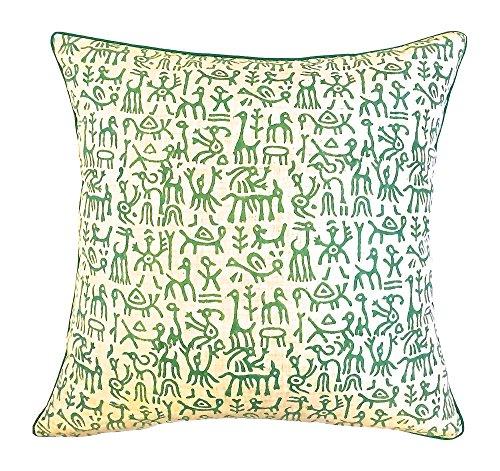 the-indian-promenade-16-x-16-cm-en-coton-melange-warli-pastel-print-housse-de-coussin-beige-vert