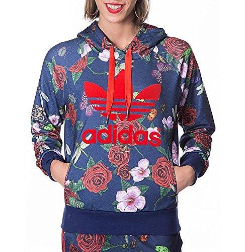 [アディダス オリジナルス] adidas Originals Rita Ora Roses Logo Hoodie ローズ ロゴ パーカー ダークブルー [並行輸入品]