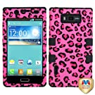 MYBAT TUFF Hybrid Phone Protector Cover for LG US730/Splendor /Venice /L86c/Optimus Showtime - Retail-Packaging - Pink Leopard Skin/Black