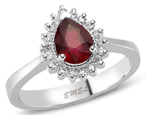 1.12 Carats 18k Solid White Gold Ruby and Diamond Engagement Wedding Bridal Promise Ring Bands