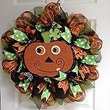 Goofy Pumpkin Wreath Handmade Deco Mesh