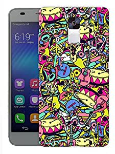 """Humor Gang Drums Guitar And Everything Doodle Printed Designer Mobile Back Cover For """"Huawei Honor 7"""" (3D, Matte, Premium Quality Snap On Case)"""