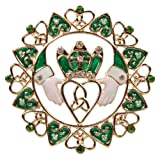 Irish Claddagh Ornament Metal Filigree with Hearts and Jeweled Crystals.