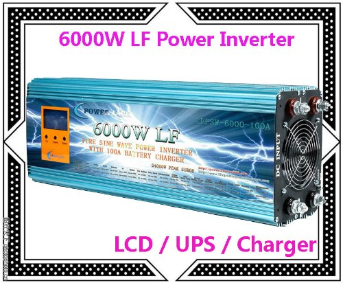 """6000 Watt Continual 24000 Watt Surge Low Frequency Pure Sine Wave Power Inverter Converter Transformer 12 V Dc Input / 110 V-120 V Ac Output 60 Hz Frequency With 100A Battery Charger Power Tools 3.5"""" Lcd/Ups/Charger"""