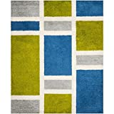 Safavieh Art Shag Collection SG911 Blue and Green Area Rug, 9-Feet by 12-Feet