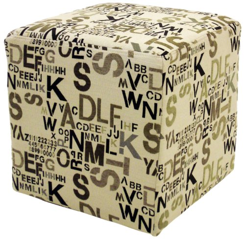 Legacy Commercial Square Ottoman in Modern Alpha Letters Fabric