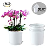 Meshpot Orchid Flower Pot Double Layer Garden Pot Planter Container Root Controlling Patent,Excellent Drainage,Inner Dia. 6.3 Inch(2 Inner Pot,2 Outer Pot,2 Tray) (2PCS White) (Color: 2PCS White)