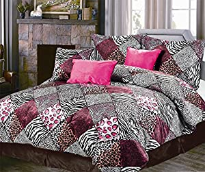 Hot Pink / Black / White Comforter Set Animal Print Microfur Bed In A Bag Queen Size Bedding
